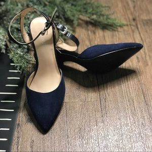 Nine West Ackley Ankle Strap Pumps Blue Black